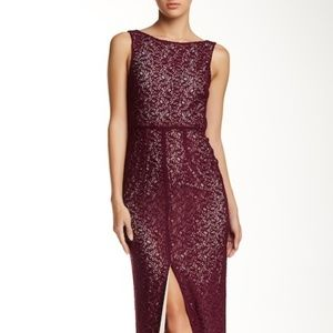 Alice + Olivia Gemma Kirr Lace Front Slit Dress